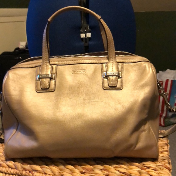 44673ede2560c Coach Handbags - Coach gold leather satchel with long strap EUC
